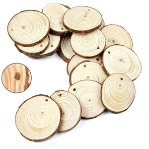 30 pcs 6-7 cm naturais redondas de madeira fatias diy artesanato festa de casamento decoração