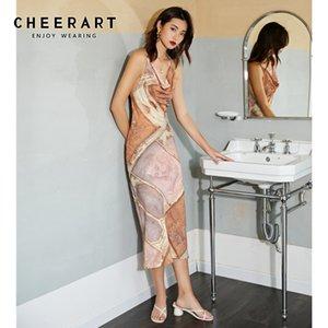 CHEERART Backless Bodycon Designer Slip Dress женская Летняя туника с открытой спиной миди длинный узкий спагетти ремень женское платье Sexy