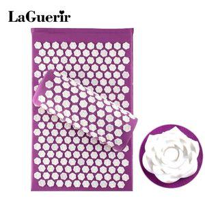 LaGuerir Acupressure Rose Shape Massage Stuoie in cotone con agopuntura + Cuscino Back Reflexology Trigger Point Massage Sollievo dallo stress C18122801
