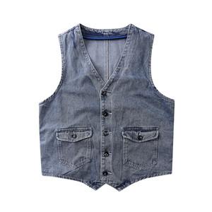Orijinal Streetwear Retro Denim yelek erkekler ve kadınlar Cepler Casual Jeans Yelek Oversize Kolsuz ceket Loose Yıkanmış