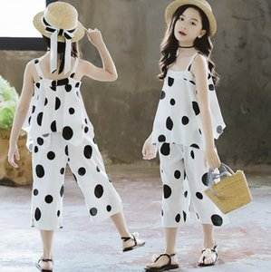 Fashion Children Clothes Summer 2019 Girls Sleeveless Off Shoulder Big dot Tops+ Pants Outfits for 4 -14 years girls Outfit Suit