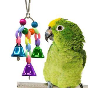 Renkli Boncuk Bells Parrot Oyuncak Süspansiyon Asma Köprüsü Zinciri Pet Kuş Papağan Chew Salıncak Oyuncak Kuş Kafesi Ev Dekorasyon Araçları