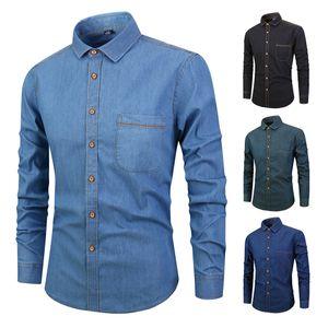 Мужские рубашки вскользь хлопок Denim цвет рубашки Тонкий Casaul Рубашка Сыпучие Негабаритные Длина рукавами рубашки пуловер рубашка S-4XL