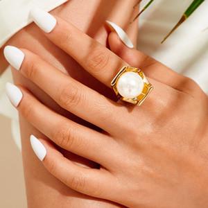 Femmes Mode Finger Rings Doux élégant Extrêmement simple Perle Charm Finger Rings Joint Party Cluster bande Anneaux Cadeaux Bijoux Accessoires