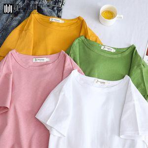 Duckwaver Women 2020 Summe Minimalist Soild T shirt Sweet Spoof Personality Short Sleeve T-shirt Women Vogue Tops tee shirt T200613