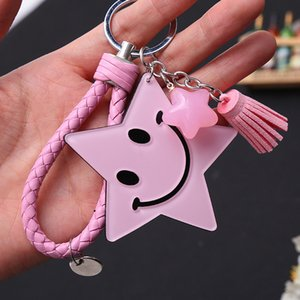 Five Pointed Star Shaped Keychain Smiling Face Leather Car Keyring Holder Purse Handbag Pendant Key Chain