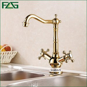 FLG europeo freddo aristocratico e caldo con porcellana oro rubinetti della cucina Verdure Kitchen Sink Dropshipping Rubinetti acqua 830K