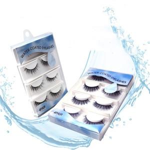 New 3d Lashes 4pair Reusable False Eyelashes Water-Activated Self-Adhesive Eyelashes Without Glue Beauty Makeup Eyelash Extension maquiagem