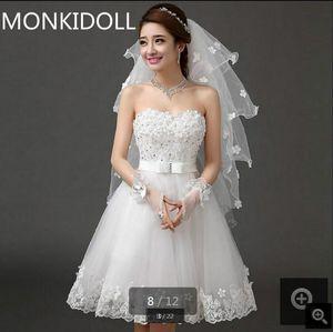 Real imagem 2019 romântico curto petite meninas vestido de noiva informal strapless querida pescoço flor frisada petite vestidos de casamento à venda