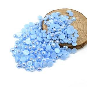 Lt.aquamarine AB abs media perla Cabochon Pealr Bead Venta caliente Moda 8mm 1900 pcs / bolsa Para accesorios de vestir