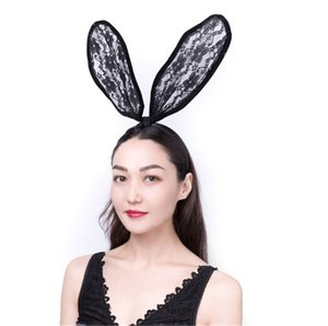 New Fashion Women Lace Rabbit Bunny Ears Veil Hair Accessories Sexy Black Mask Party Sexy Hair Band Club Cosplay