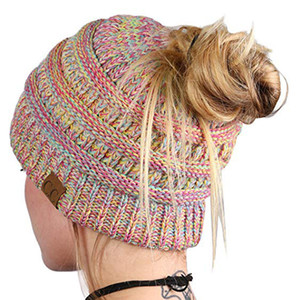 Wholesale Autumn Winter Colorful Women Knitted Wool Hats Windproof Elastic Soft Thicken Warm Hat Knitted Beanies Ball Cap DH0630 T03