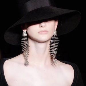 Ciliy 2018 New Hot Luxe Design Mode Fishbone Boucles d'oreilles Bent personnalité Exagération alliage strass Résumé F54254447 C19041101