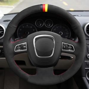 أسود من جلد الغزال غطاء عجلة القيادة ل Audi A3 (8P) 2008-2013 A4 (B8) 2008-2010 A5-2010 A6 (C6) 2007-2011