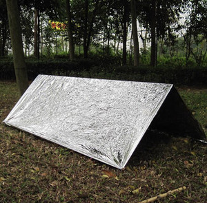 Emergency Shelter PET Film Tent 240*150cm Waterproof Sliver Mylar Thermal Survival Shelter Easy To Carry Camping Tents Shade GGA3387-6
