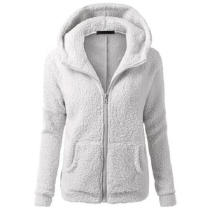 Autumn Winter Thicken Fleece Hooded Coat Jacket 2019 Casaco Feminino Women Basic Warm Black Gray Plush Overcoat Hood Outwear