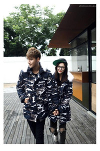 Cotton Padded Jacket Zipper Fly With Pocket Woman Winter Top Couples Matching Clothes Blue Camouflage Man