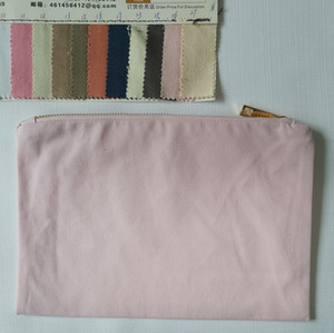 Light Pink 10 OZ Canvas Makeup Storage Bag Navy Cotton Cosmetic Orgainizer Bag for Screen Printing