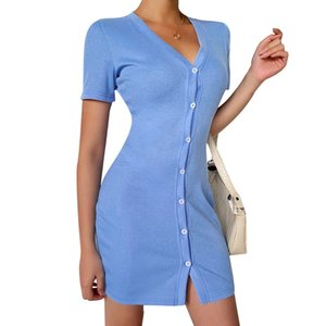 New Arrived Sexy Dress Ladies Button Knitted Tops Tight Short-Sleeved Mini Dress Suitable For Club Paties Home Wear 2020 Hot Saleeal Picture