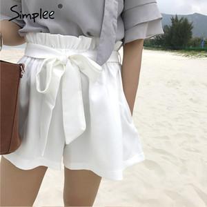 Simplee increspati fusciacche alta vita mette le donne in solido tasca di colore del germoglio di pantaloncini estivi bicchierini caldi streatwear casuale Y200403