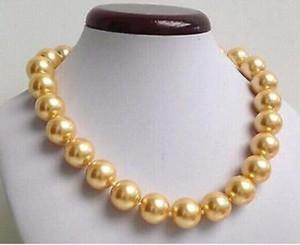 """Jewelryr collier de perles 18 """"LONGUE GOLD MER DU SUD COQUILLE PERLE BEADED 14mm NECKLACE Livraison Gratuite"""