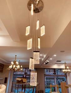 Scala lampadario di cristallo di lusso Bubble quadrato LED lampada a cristallo Loft Duplex Lampadari Villa Hotel Hall decorazione luci di illuminazione