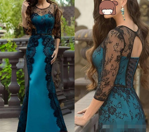 2020 Black Lace Peacock Satin Abendkleider 3/4 lange Ärmel Tiered Korsett wulstige Nixe-Abschlussball-Partei-Kleid-formale Gelegenheit Wear