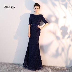 weiyin Navy Blue Flowers Lace mezze maniche Mermaid abiti da sera di moda musulmana elegante Tulle Abiti da sera 2019 WY837