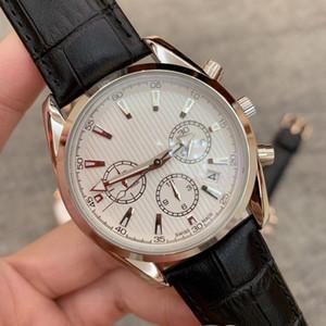 Alta calidad Todos los Subdiales Trabajo Moda Hombre de cuarzo Reloj de cuero Movimiento de Japón Reloj de oro rosa Relojes de pulsera Vida famosa Reloj masculino Artículos calientes