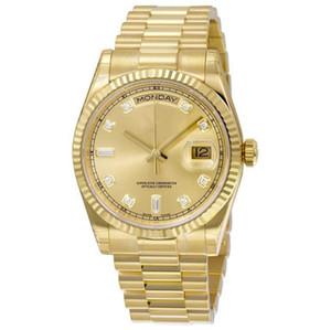 17 Farben Top-Qualität Uhr 18K Gold DAY DATE mechanische gleiten glatt beobachten 40MM Mens Royal Eichen Edelstahl-Lünette Band Armbanduhr
