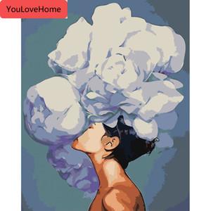 숫자 꽃 소녀 키트 그리기 캔버스 지에 handpainted 그림 사진 홈 장식 선물 예술 DIY의 높은 품질 캔버스에 의해 회화
