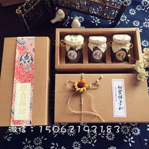 25 * 13 * 7 CM Высокое качество Kraft Paper Box для 3 100мл стеклянные бутылки Jam / Honey / специй / соус / Пудинг Box