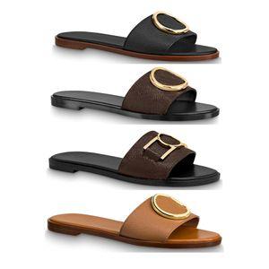 les femmes en cuir veau fille dame semelle extérieure dorée été Cercle boucle accessoire Lock It mule plate Slides Slipper Thong Sandales