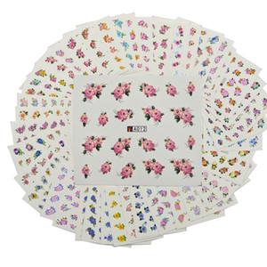 48 시트 믹스 귀여운 꽃 패턴 네일 용지 팁 아트 장식 매니큐어 Diy 워터 마크 문신 A001-048 스타일링