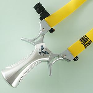 Sliver Alloy Slingshot caça catapulta estilingue com lâmpada Com o objetivo de Tiro Bow Plano Rubber Band Outdoor tradicional Precision Jogo Bow