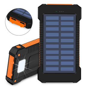 10000mAh Solar Power Charger banco impermeável telefone externo bateria dupla USB Power Bank