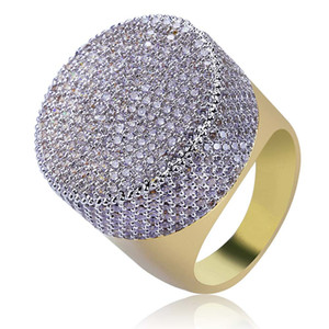 Cubic Zirconia Rings For Hiphop Man European and American Style Big Size Gold Plated Copper Circle Cluster Rings Grade Quality Rings LR020