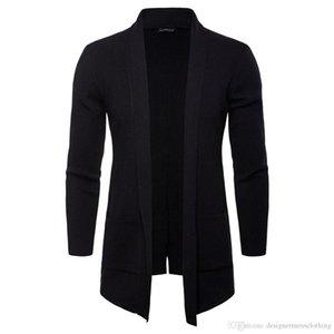 Весна Осень Mens Open Стич Solid Stand Collar с длинным рукавом Верхняя одежда Повседневная пальто Мода Knit с карманом Мужские куртки