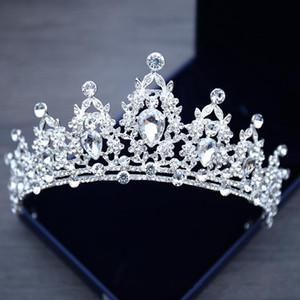 2020 La nueva joyería de cristal blanco vestido de novia Tiara Corona tocados de novia princesa Corona Celada para la boda accesorios nupciales T1
