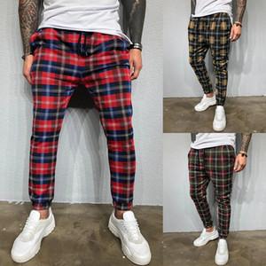Mode casual Hommes Plaid Pants Pantalons Drawstring Hommes Slim Fit Vérifiez Joggers Bas Crayon Pantalons Pantalons Automne Sport