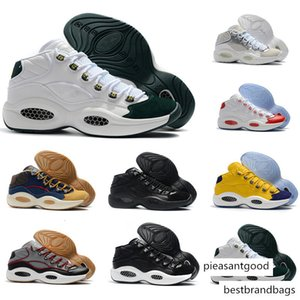 2020 Classic Allen Iverson 1 Olive Green Yellow Red Basketball Shoes for Top quality Mens Trainers Answer One AI Sports Sneakers Size 40-46