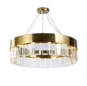 Yeni Crystal lamba İskandinav avize salon, modern minimalist altın dekoratif ışıklar altın cam kordon kolye