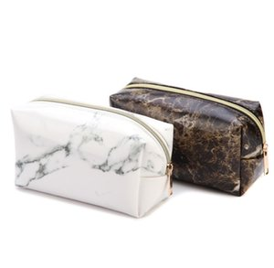 PU white black marble design men women zipper pouch cosmetic bag fashion makeup case toiletry storage organizer