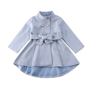 1-5Y Toddle Kids Baby Girl Outerwear Trench Coat Long Sleeve Dress Button Fashion Warm Windbreaker Jacket Autumn Winter