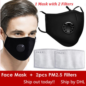 Gratuit DHL Réutilisés Masques Visage Anti-poussière, fumée, extérieur, intérieur réglable Protection réutilisable avec 2 PM2,5 Filtres Masque bouche pour les femmes Man