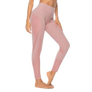 Women Running Pants Tummy Control mesh Gauze pocket stretch exercise Pants Super Stretchy Gym Fitness Sport Leggings Pants #1220 T200606