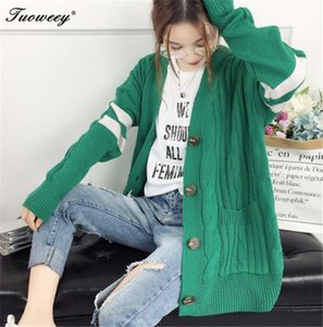 Spring And Autumn Long Knitting Cardigan Female Spell Color Stripe V Neck Slim button Coat Plus Size Sweater For Women
