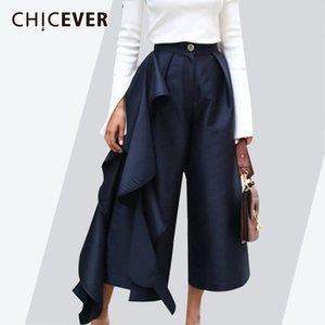 Chicever Kadınlar Için 2018 Fırfır Pantolon Yüksek Bel Geniş Bacak Pantolon Kadın Rahat Palazzo Dipleri Büyük Boy Elbise Kore Sonbahar Y19071601