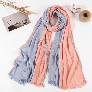sábanas de algodón a rayas bufanda de rayas artística plisada bufanda unisex nuevo estilo popular de la manera Pañuelo headcloth hijab chal