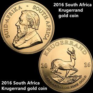 El envío libre 10pcs / lot, 2016 moneda de oro Krugerrand Sudáfrica 24K chapado en oro moneda de oro Proof Sin